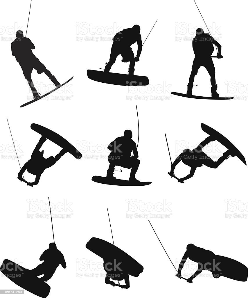 Wake boarder doing sweet tricks royalty-free wake boarder doing sweet tricks stock vector art & more images of activity