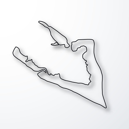 Wake Island map - Black outline with shadow on white background