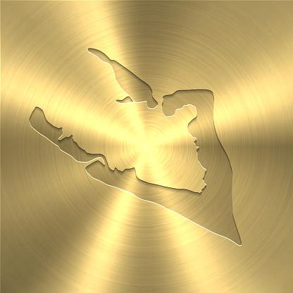 Wake Island map on gold background - Circular brushed metal texture