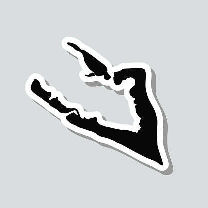 Wake Island map sticker on gray background