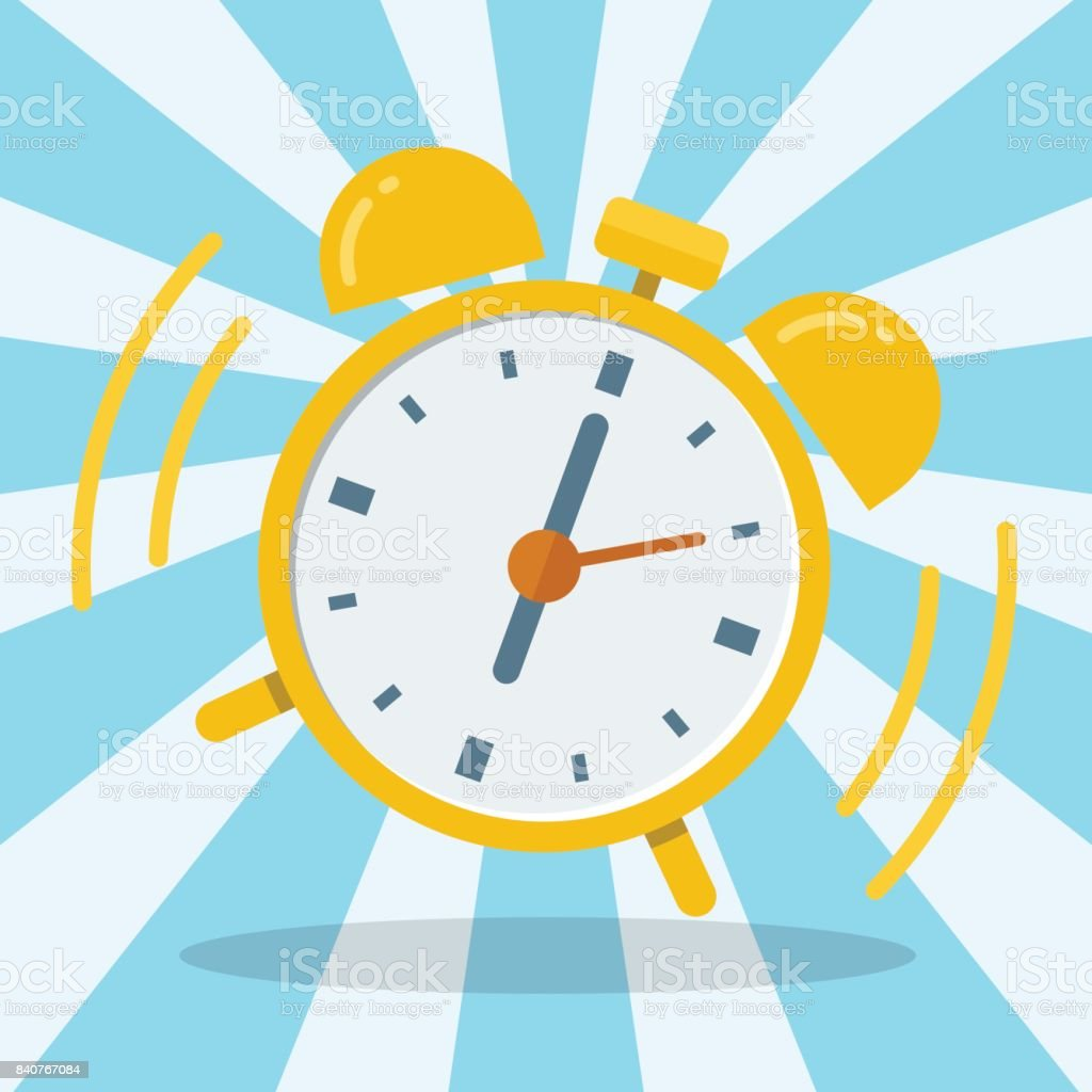 Wake up alarm clock. Vector Flat design vector art illustration