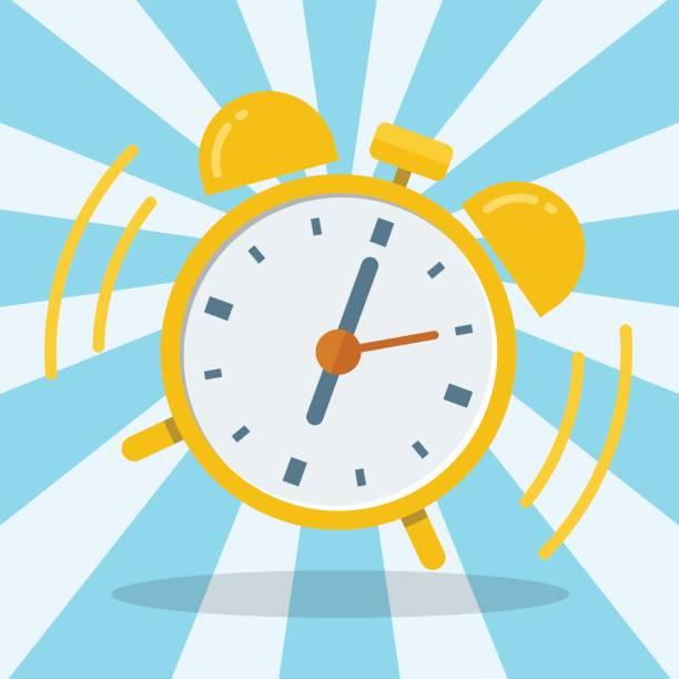 Wake up alarm clock. Vector Flat design vector art illustration