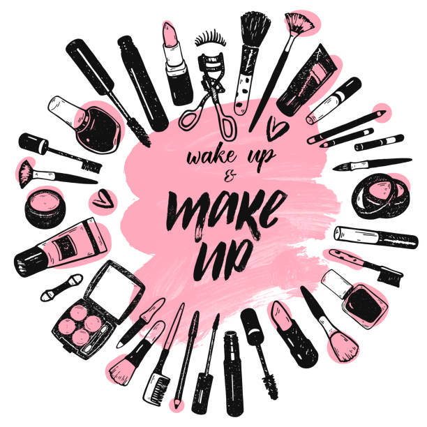 wake up and make up brush lettering on pink art brush stroke background with cosmetics collection - makeup fashion stock illustrations