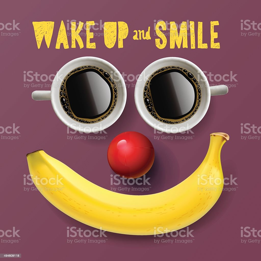 Wake up and smile, motivation background vector art illustration