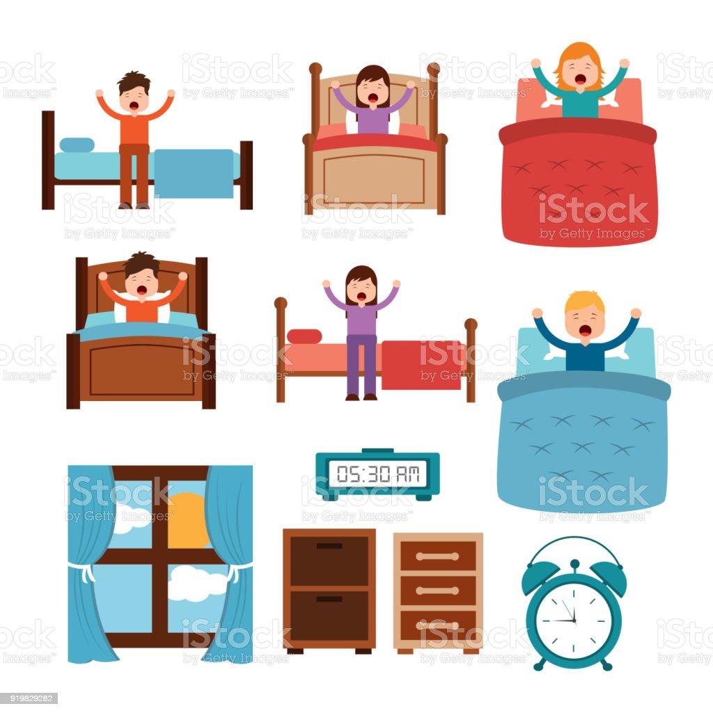 Vakna Upp Olika Personer Säng Stretch Klocka Alarm Sängbord Fönster