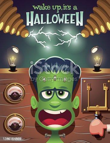 istock Wake up Frankenstein,it's a Halloween vector illustration 1286164869