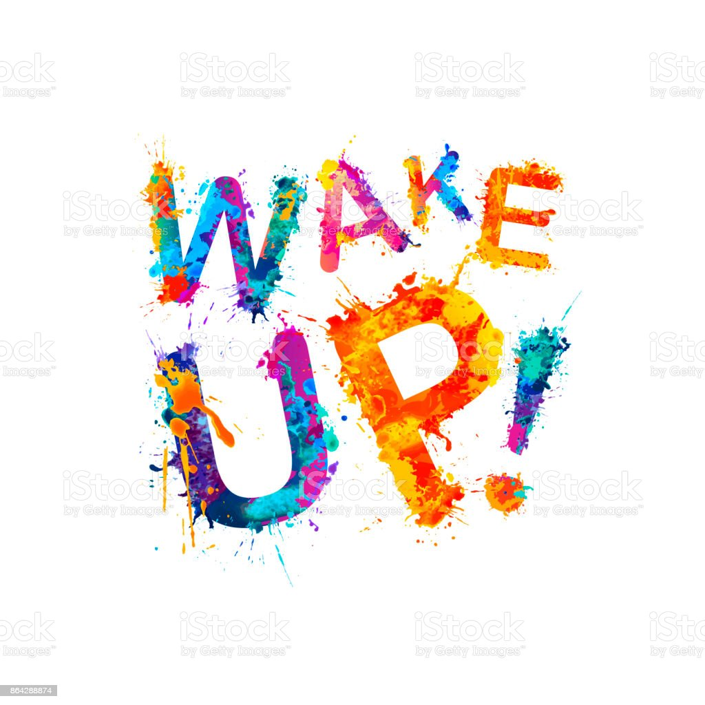 Wake up! Inscription of splash paint royalty-free wake up inscription of splash paint stock vector art & more images of alarm