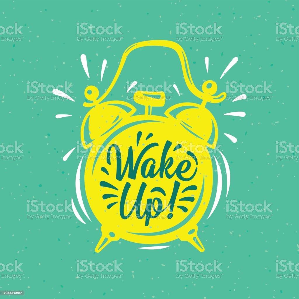 Wach auf! Inschrift auf Gold Wecker. – Vektorgrafik