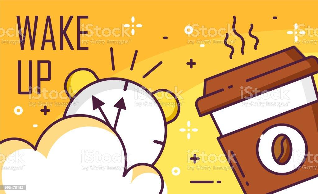 Vakna upp affischen med molnet, väckarklocka och kopp kaffe på gul bakgrund. Tunn linje platt design. Vector banner. - Royaltyfri Affisch vektorgrafik
