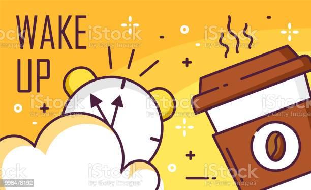 Vakna Upp Affischen Med Molnet Väckarklocka Och Kopp Kaffe På Gul Bakgrund Tunn Linje Platt Design Vector Banner-vektorgrafik och fler bilder på Affisch
