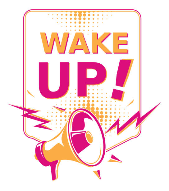 Wake up - sign with megaphone decorative vector artwork good news stock illustrations