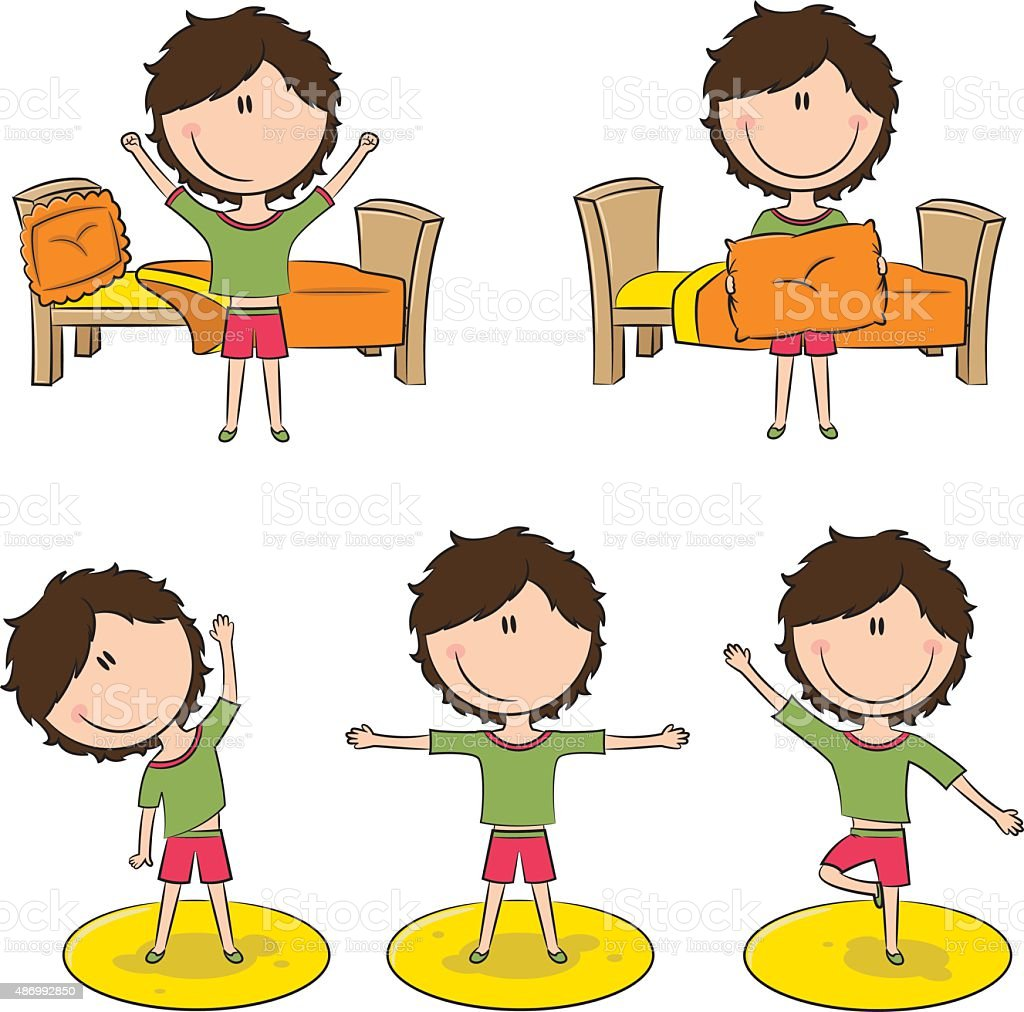 royalty free drawing of a girl waking up clip art vector images rh istockphoto com