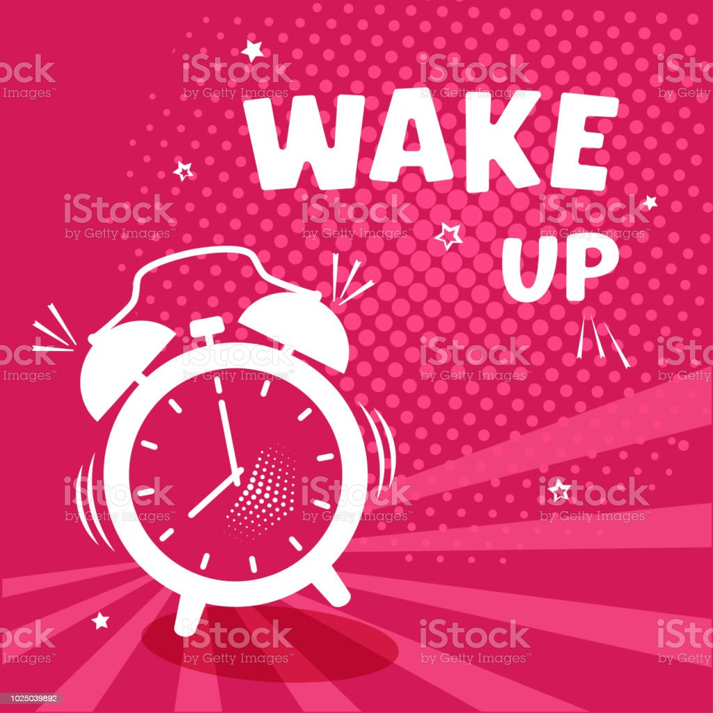 Wake up. White comic alarm clock on pinr background with halftone and stars in pop art style. Vector illustration