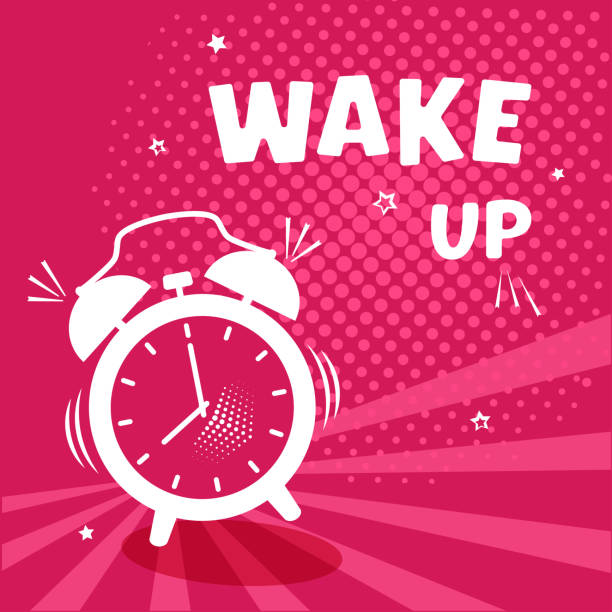 Wake up. White comic alarm clock on pinr background with halftone and stars in pop art style. Vector illustration vector art illustration