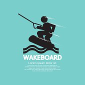 Wakeboard Player Symbol Vector Illustration