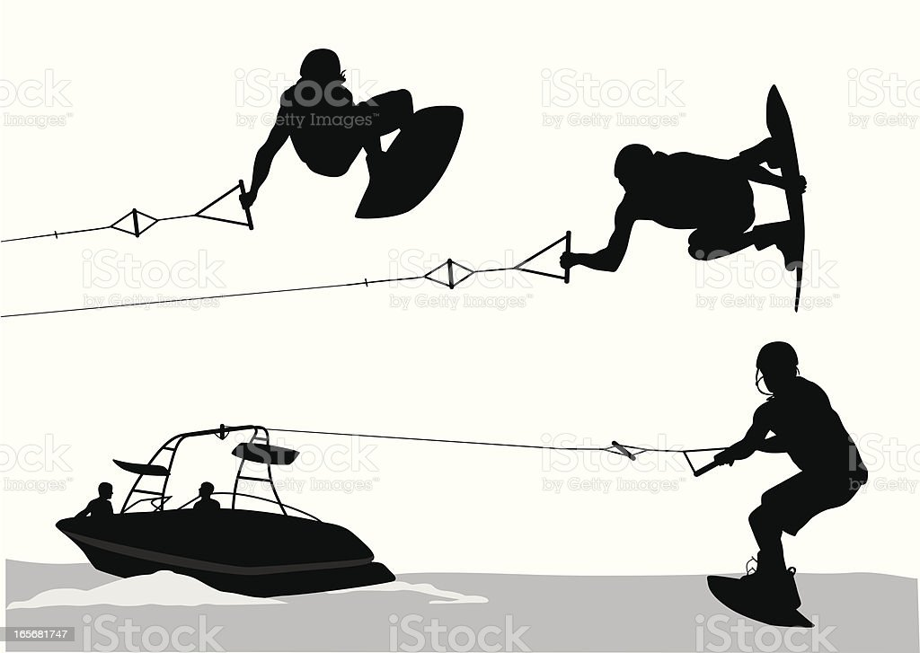 Wakeboarding Vector Silhouette royalty-free stock vector art