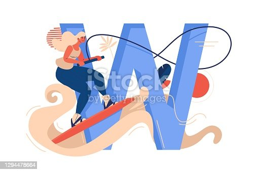 istock Wakeboarding woman with large letter W, water and rope isolated on white. Active female character riding wakeboard 1294478664