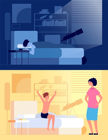 Waking up child. Kid sitting on bed in bedroom, mom and son at early morning. Sleeping and awake happy boy, night rest vector illustration