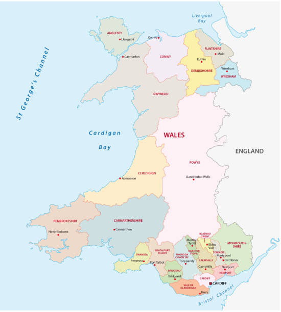 wales administrative and political map wales administrative and political vector map south wales stock illustrations
