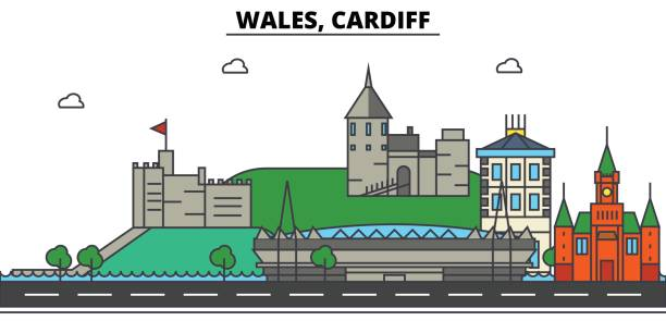 wales, cardiff. city skyline: architecture, buildings, streets, silhouette, landscape, panorama, landmarks. editable strokes. flat design line vector illustration concept. isolated icons set - wales stock illustrations, clip art, cartoons, & icons