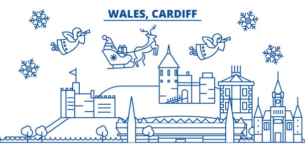 wales, cardiff winter city skyline. merry christmas, happy new year decorated banner with santa claus.winter greeting line card.flat, outline vector.linear christmas snow illustration - wales stock illustrations, clip art, cartoons, & icons