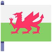 Wales flag flat illustration