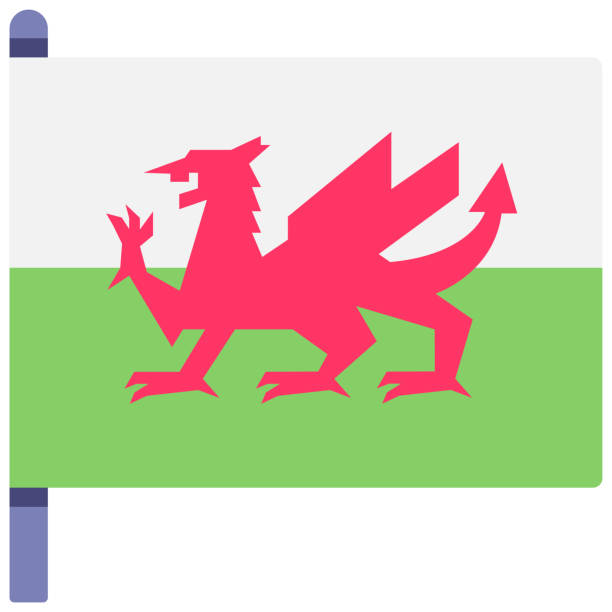 wales flag flat illustration - wales stock illustrations, clip art, cartoons, & icons