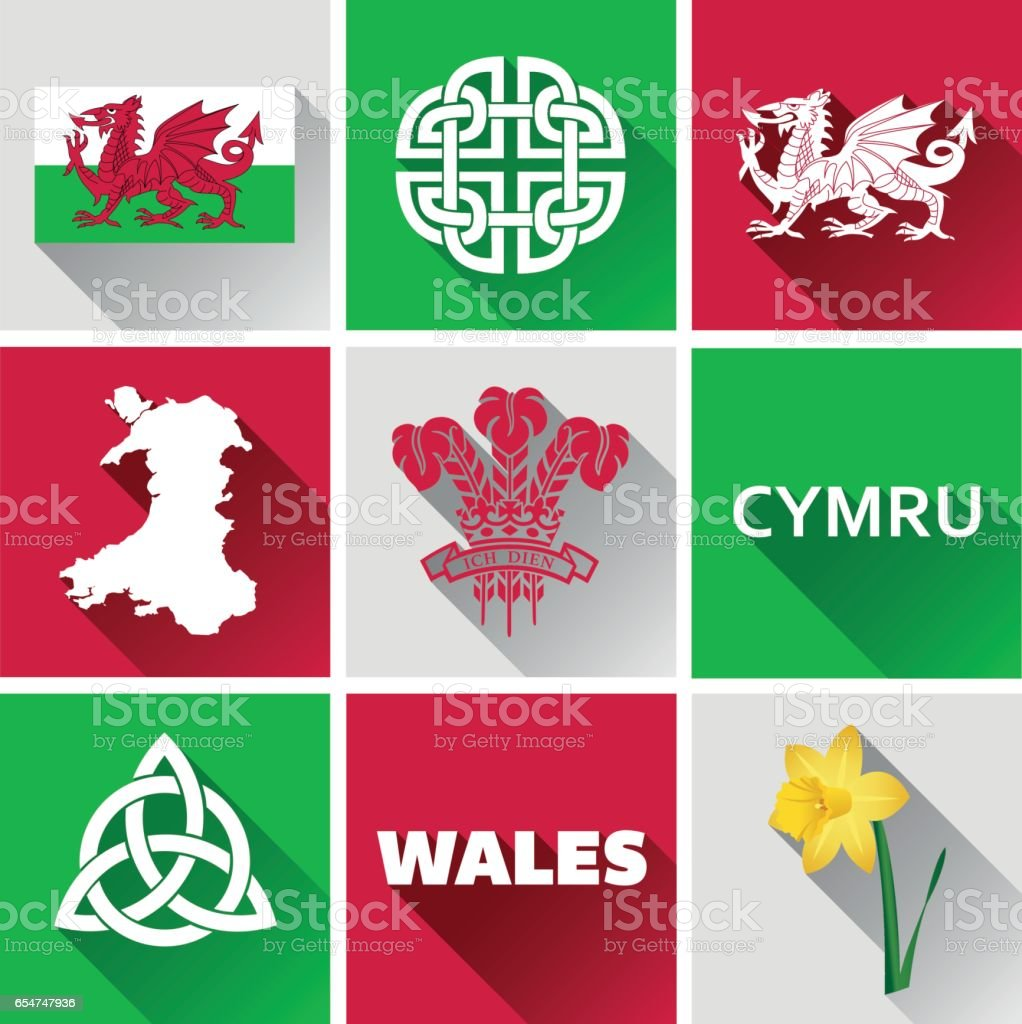 Wales Flat Icon Set vector art illustration