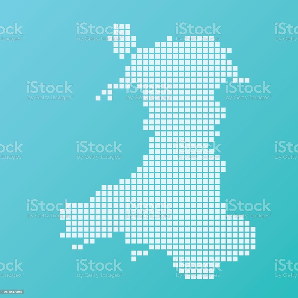 Wales Map Basic Square Pattern Turquoise vector art illustration
