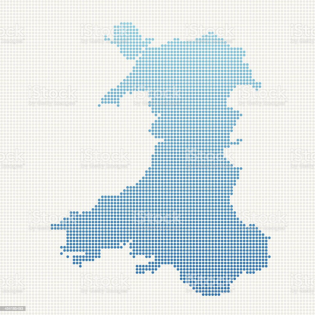 Wales Map Blue Dot Pattern vector art illustration