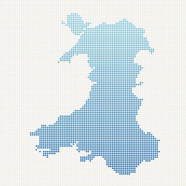 wales map blue dot pattern - wales stock illustrations, clip art, cartoons, & icons