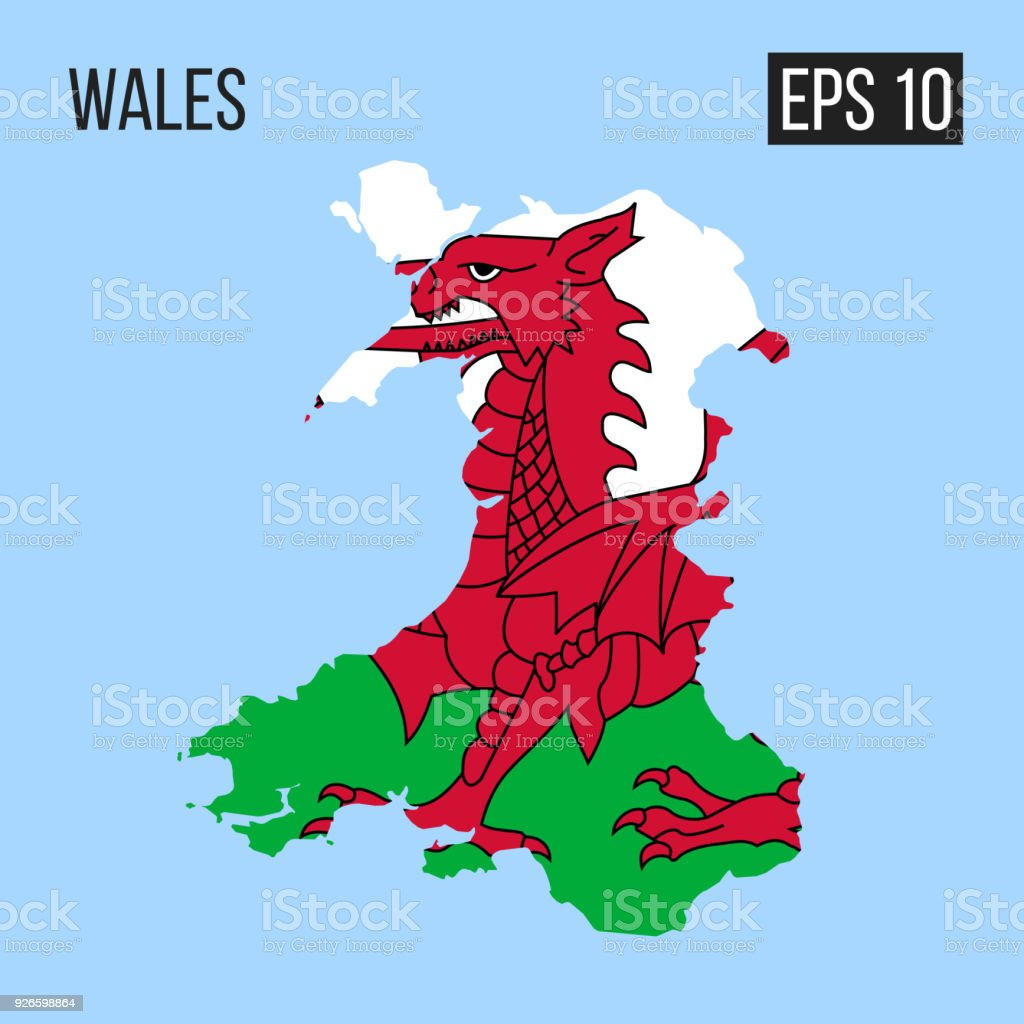 Wales Map Border With Flag Vector Eps10 Stock Vector Art More