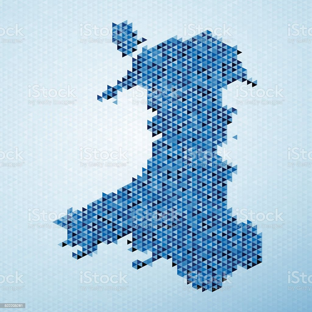 Wales Map Triangle Pattern Blue vector art illustration
