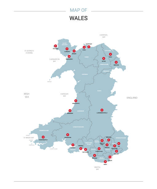 wales map vector with red pin. - wales stock illustrations, clip art, cartoons, & icons