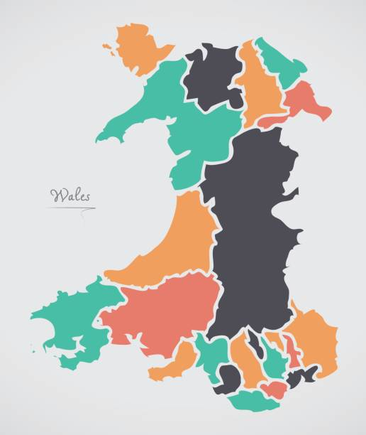 wales map with states and modern round shapes - wales stock illustrations, clip art, cartoons, & icons
