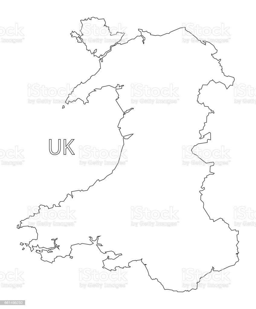 Wales Outline Silhouette Map Illustration stock vector art 661495232