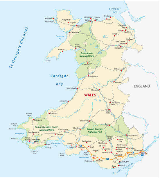 wales road and national park map - wales stock illustrations, clip art, cartoons, & icons