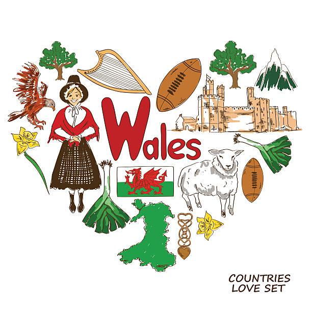 wales symbols in heart shape concept - wales stock illustrations, clip art, cartoons, & icons