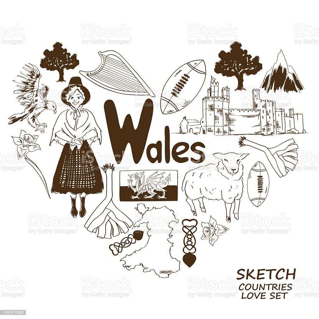 Wales symbols in heart shape concept vector art illustration
