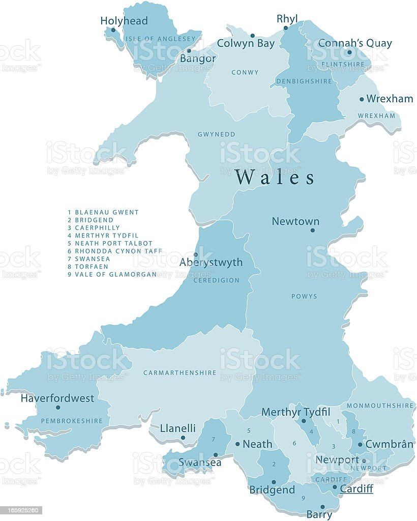 Wales Vector Map Regions Isolated vector art illustration
