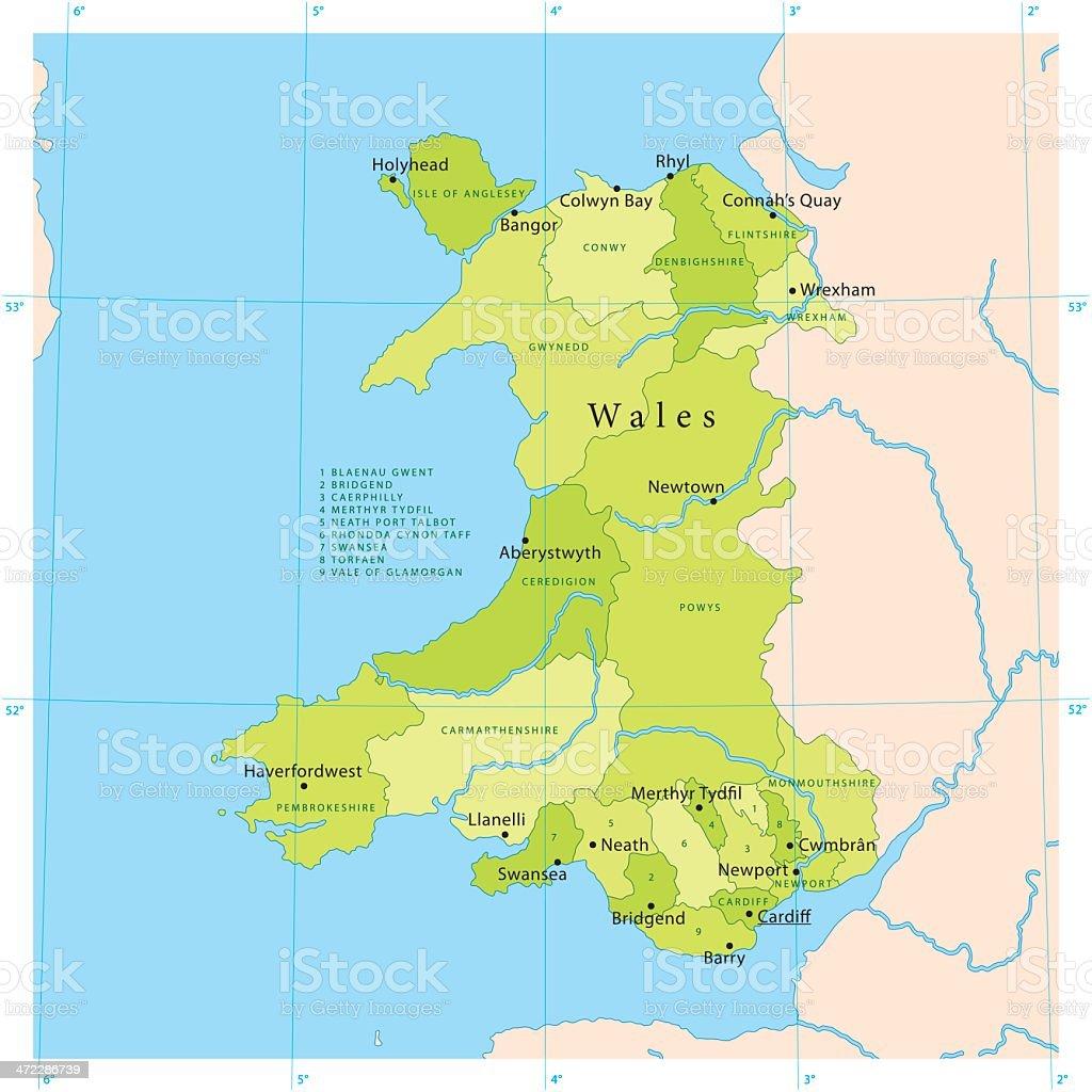 Wales Vector Map vector art illustration