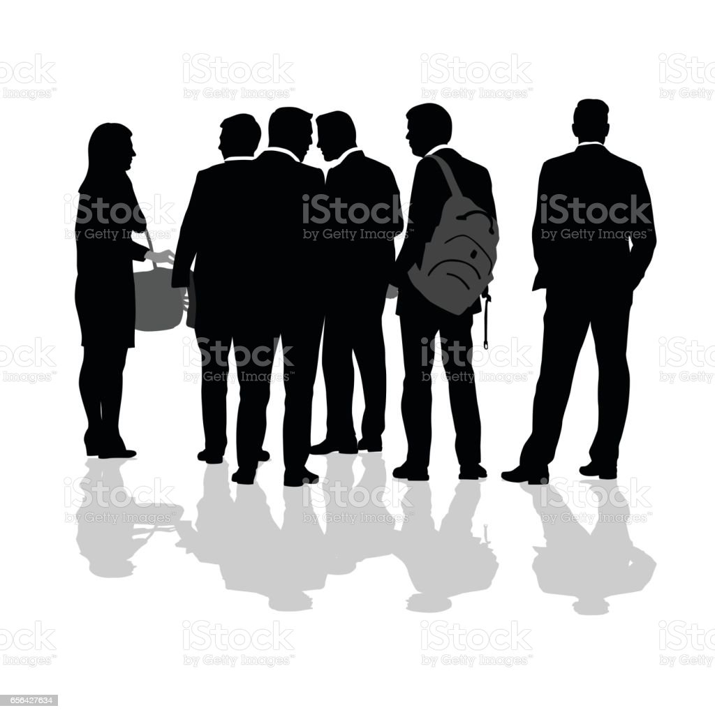 Walk And Talk Business Crowd vector art illustration