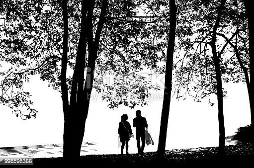 Romantic walk by the lake shore