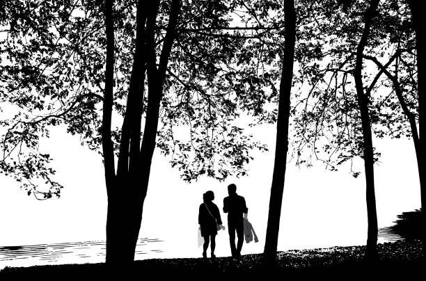 Walk By The Lake Romantic walk by the lake shore waterfront stock illustrations