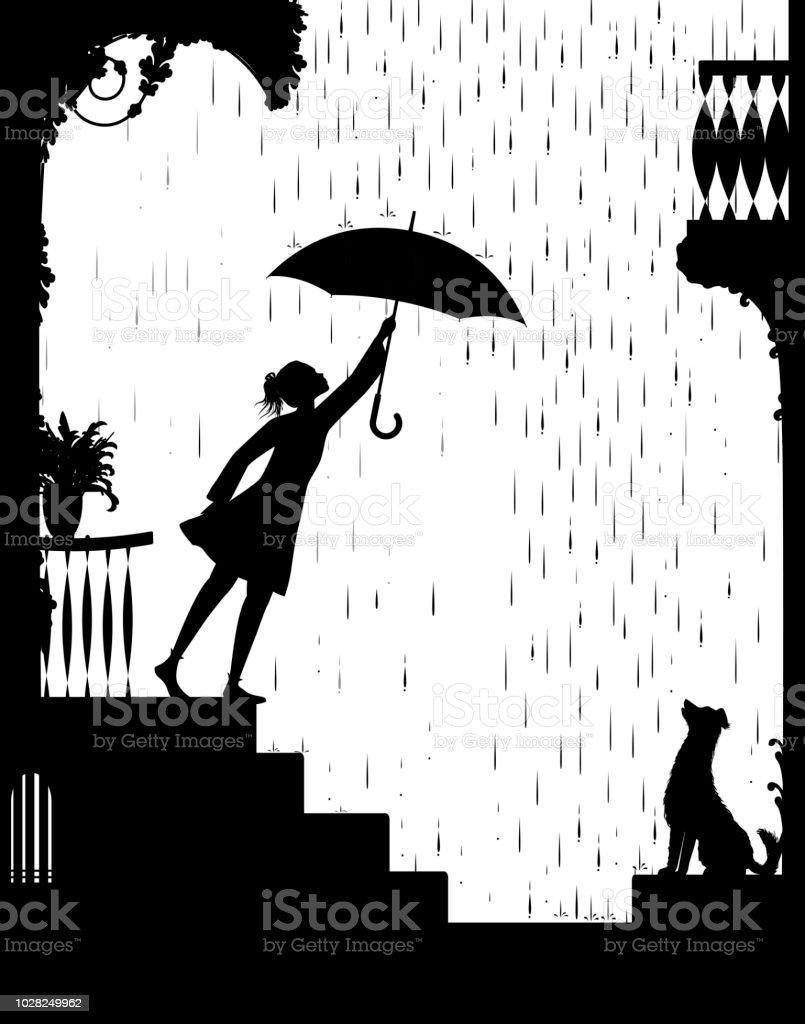 Spaziergang Im Regen Mädchen öffnet Sich Der Schirm Und Gehen Für