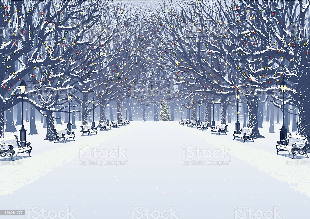 Walk in the winter park royalty-free stock vector art