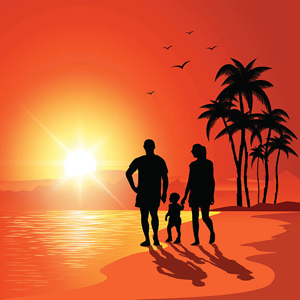 Best Walking Into Sunset Illustrations, Royalty-Free ...