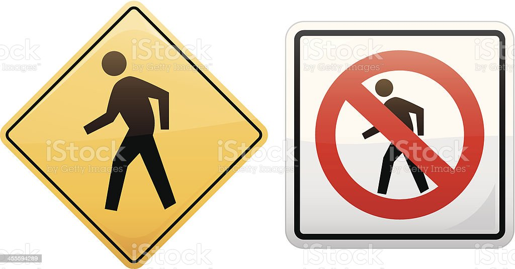 Walk or Don't Signs royalty-free stock vector art