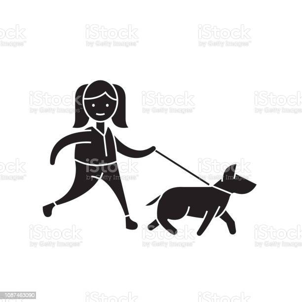 Walk the dog black vector concept icon walk the dog flat illustration vector id1087463090?b=1&k=6&m=1087463090&s=612x612&h=ouwjv7nskhpwcz2vunowtwdxv3qkvkni5bzvjg17gwa=