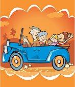 divertido paseo familiar en auto de nietos con sus abuelos